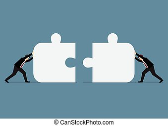 Businessmen pushing two jigsaw pieces together. Business...