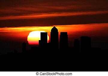 London Docklands skyline at sunset illustration