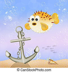 puffer fish - illustration of puffer fish in the ocean