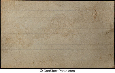 Aged and Yellowed Index Card - A blank, lined index card,...