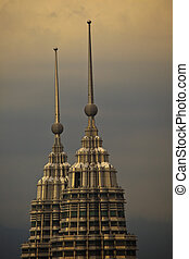 Petronas Towers Spires at Twilight in Kuala Lumpur - Top of...