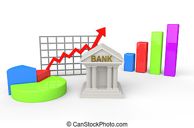 3d bank building with graphs