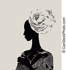 young woman - Beautiful women with abstract flower hair-do