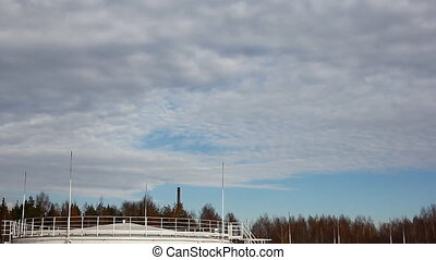 Big Oil Storage - Oil storage in Russia under blue sky