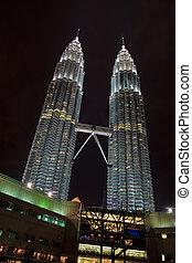 Petronas Twin Towers Illuminated in Kuala Lumpur