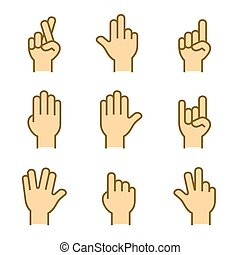 Hands Icons Set on White Background. Vector