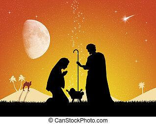 Christmas Nativity scene - illustration of Christmas...