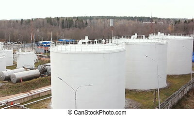 Big Oil Storage - Oil storage in Russia. Pan shot