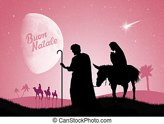Christmas Nativity scene - illustration of Christmas...