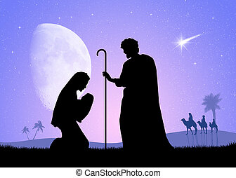 Nativity scene - illustration of Nativity scene