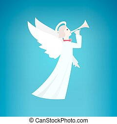 White Christmas Angel on a Blue Background, Christmas...