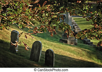 Gritty Graveyard - A cemetery scene with digital grit...