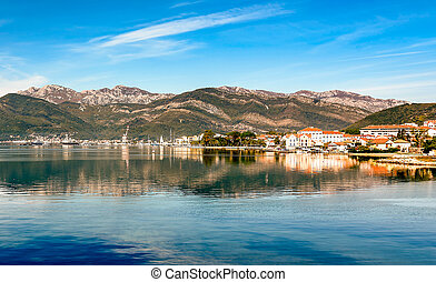 View of the city Tivat from the sea, Montenegro