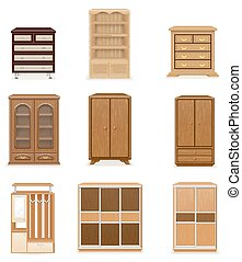 set icons furniture wardrobe cupboard and commode vector...