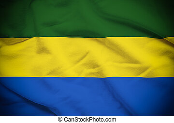 Gabon Flag - Wavy and rippled national flag of Gabon...