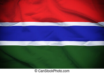 Gambia Flag - Wavy and rippled national flag of Gambia...