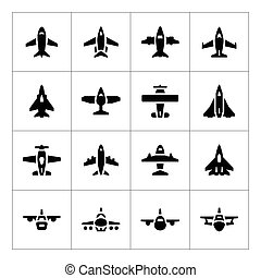 Set icons of planes isolated on white