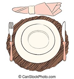 Informal vector table setting. Tableware and eating utensils are set at the table for serving. Simply style place setting or table setting or laying a table) are for casual dining.