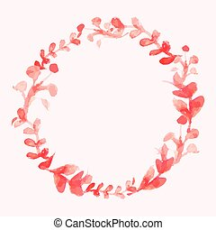 Watercolor flowers wreath. Hand painted wedding...
