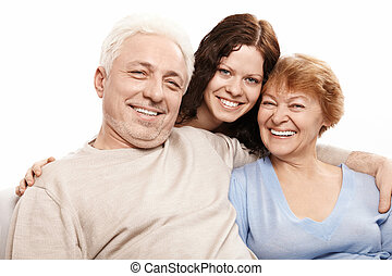 Family portrait - Portrait of a happy family on a white...