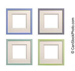 selection of square picture frames pastel colors with card insert isolated,