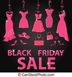 Black friday Sale Pink party dresses  accessories