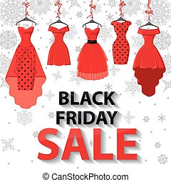 Black friday Sale Red Party dresses  snowflakes