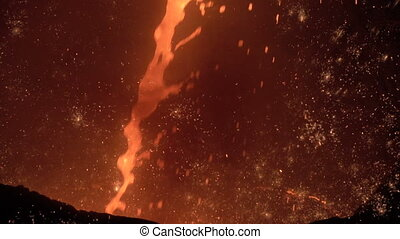 jet of molten iron with sparks 2