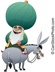 Nasreddin Hodja - Cartoon of Nasreddin Hodja on his donkey