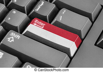 Enter button with Indonesia Flag
