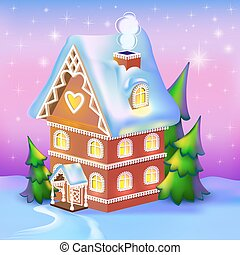 illustration of dreamlike cottage in the snow