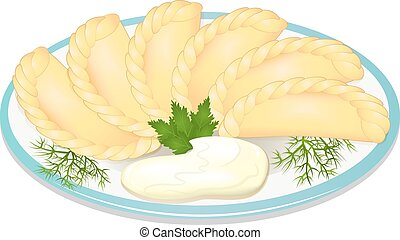 illustration dumplings with sour cream on the plate