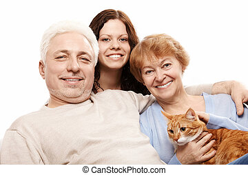 The smiling family - Cheerful families and a cat on a white...