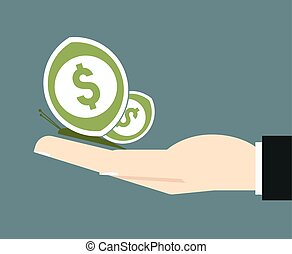 businessman hand hold a money butterfly freedom in financial...