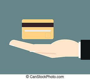 businessman hand hold credit card vector