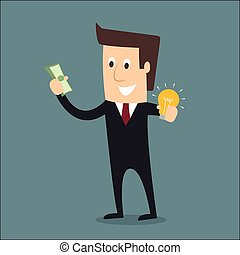Businessman holding money and idea business concept vector illustration.