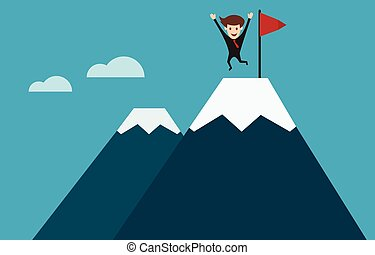 businessman on top of mountain concept of success