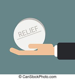 hand hold a pill of relief vector