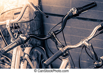 Selective focus point on bicycle - vintage filter effect