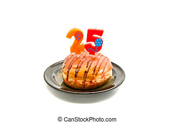 donut with twenty five years birthday candle on white