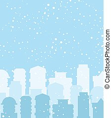 Winter city. Snow falls on building. Sky with snowflakes. Skyscrapers in snow. Background for Christmas congratulations card.