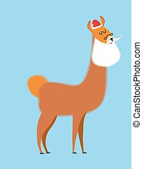 Alpaca Lama Santa Claus Wild animal with beard and moustache...