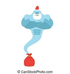 Genie is out of  bag Santa Claus. Magic spirit with a beard and mustache. Christmas clothes. Strong is fantastic person.