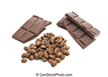 heap of coffee beans and chocolate bar