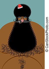 Santa Claus american african naked. Naked old Christmas character with a hairy chest. Large black beard and winter hat Afro man. Lol Congrats greeting card holiday.