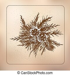 decoration of fir branches with cones on a gift - collage...