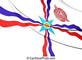 Flag of Assyria - 3D Flag of the Assyria. Close Up.