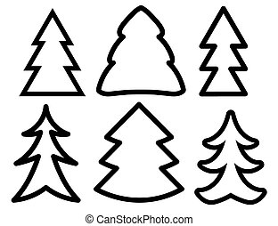 black silhouettes of christmas trees