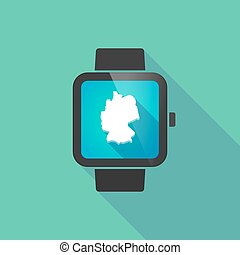 Smart watch vector icon with  a map of Germany