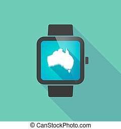 Smart watch vector icon with  a map of Australia